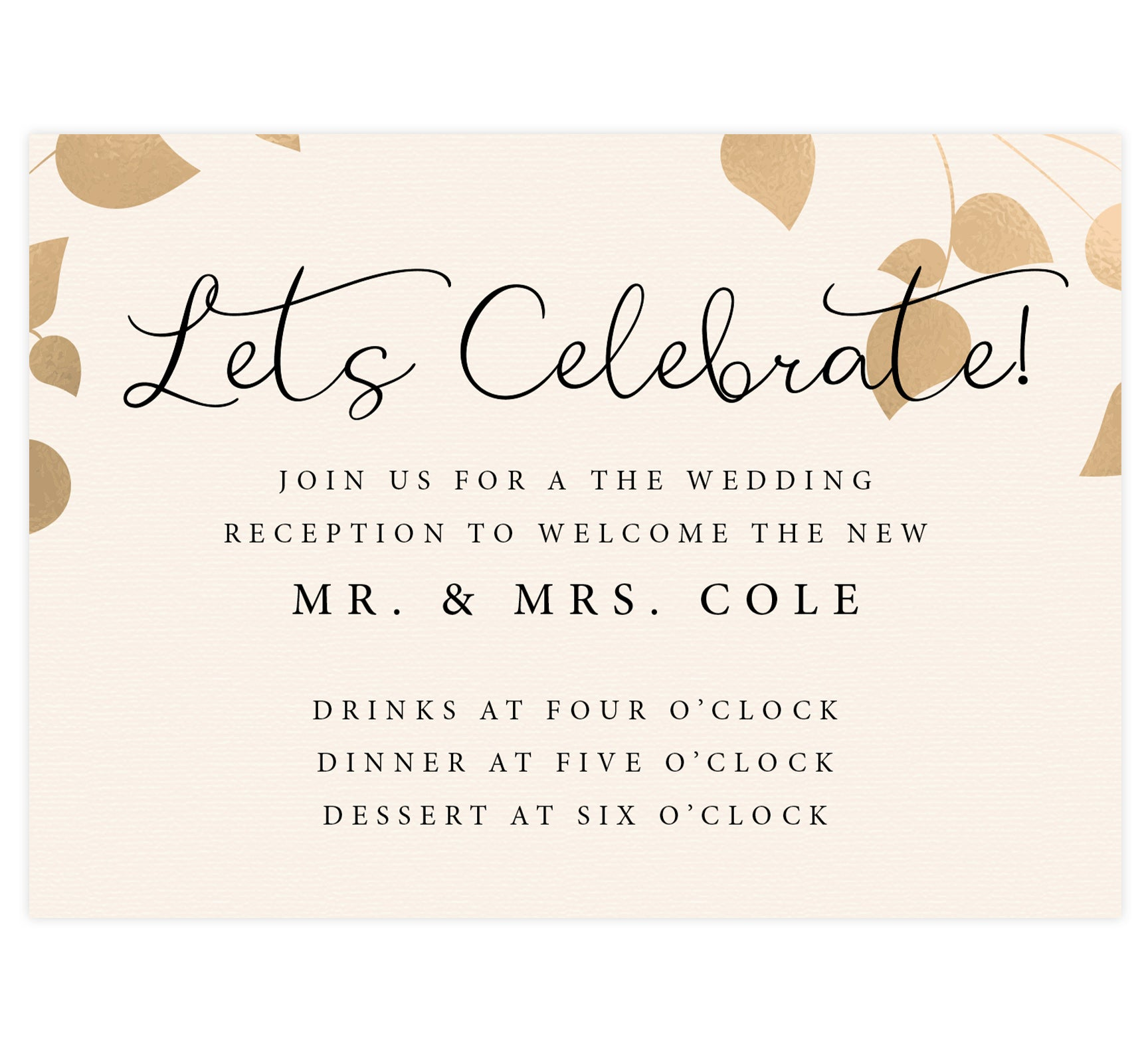 Elegant Celebration wedding reception card; cream textured background with gold leaves on the top edge and black text
