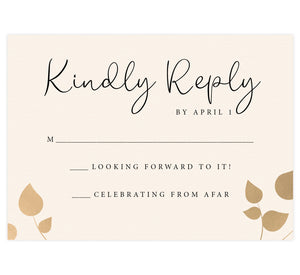 Elegant Celebration wedding response card; cream textured background with gold leaves in lower corners and black text