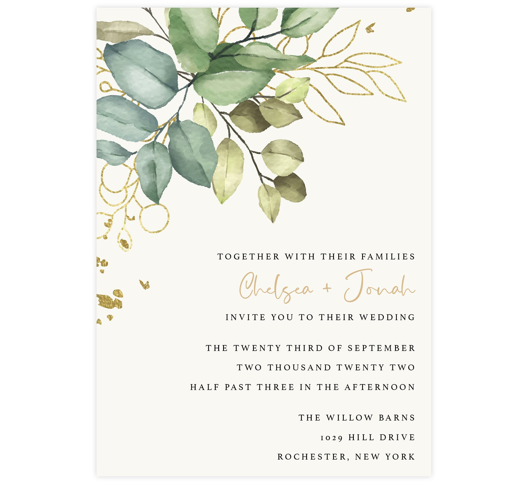 Greenery with Gold wedding invitation; cream background with large watercolor greenery and gold in the top left corner and black text with names in gold