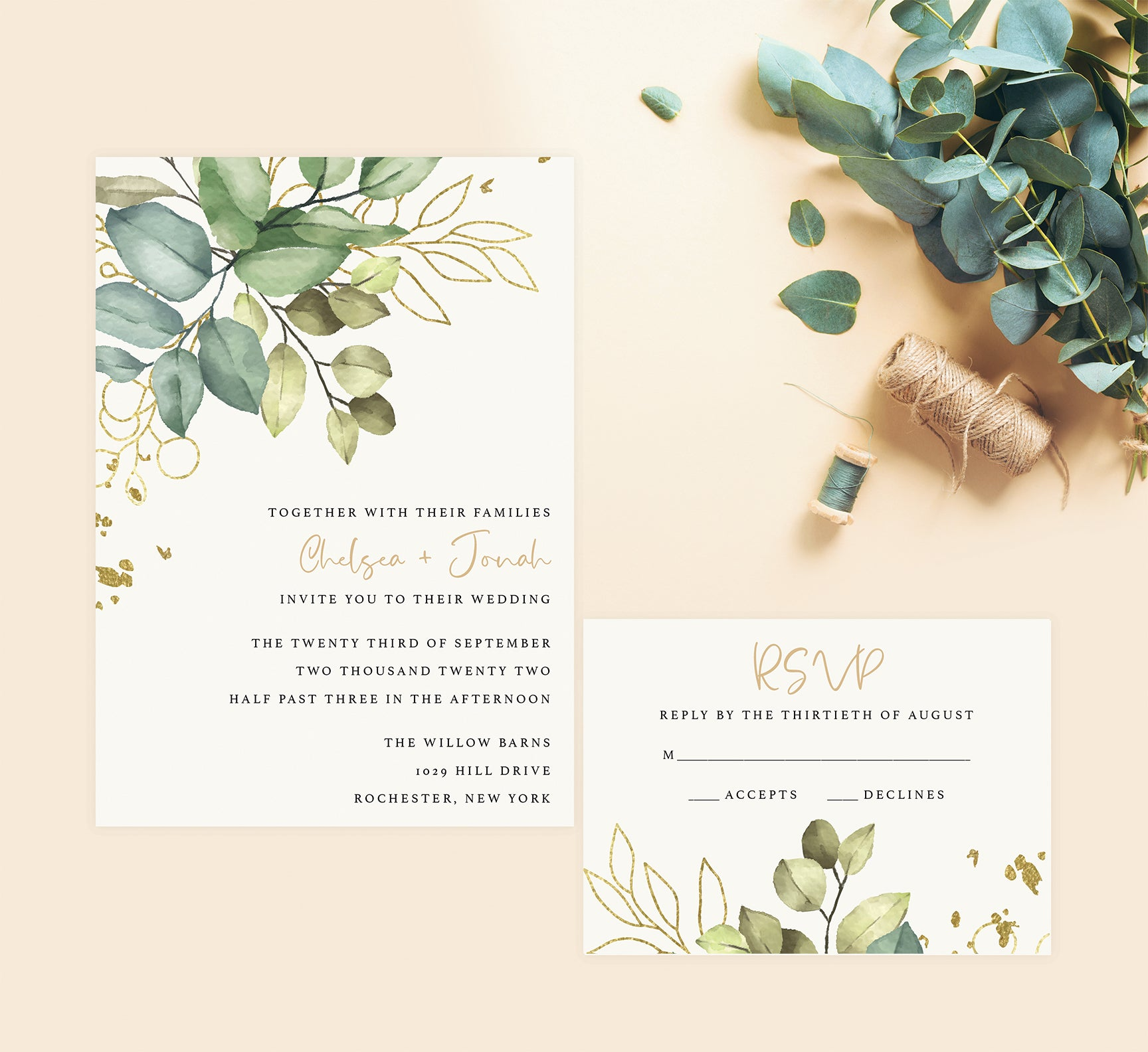 Greenery with Gold wedding set mockup