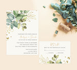 Load image into Gallery viewer, Greenery with Gold wedding set mockup