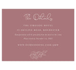 Load image into Gallery viewer, Simple Romantic wedding accommodations/details card; purple pink background with white text and outline of greenery at the bottom
