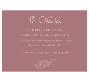 Simple Romantic wedding accommodations/details card; purple pink background with white text and outline of greenery at the bottom