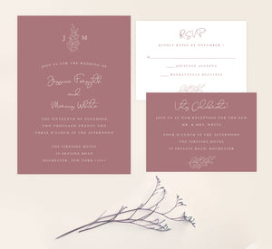Simple Romantic wedding invitation and set