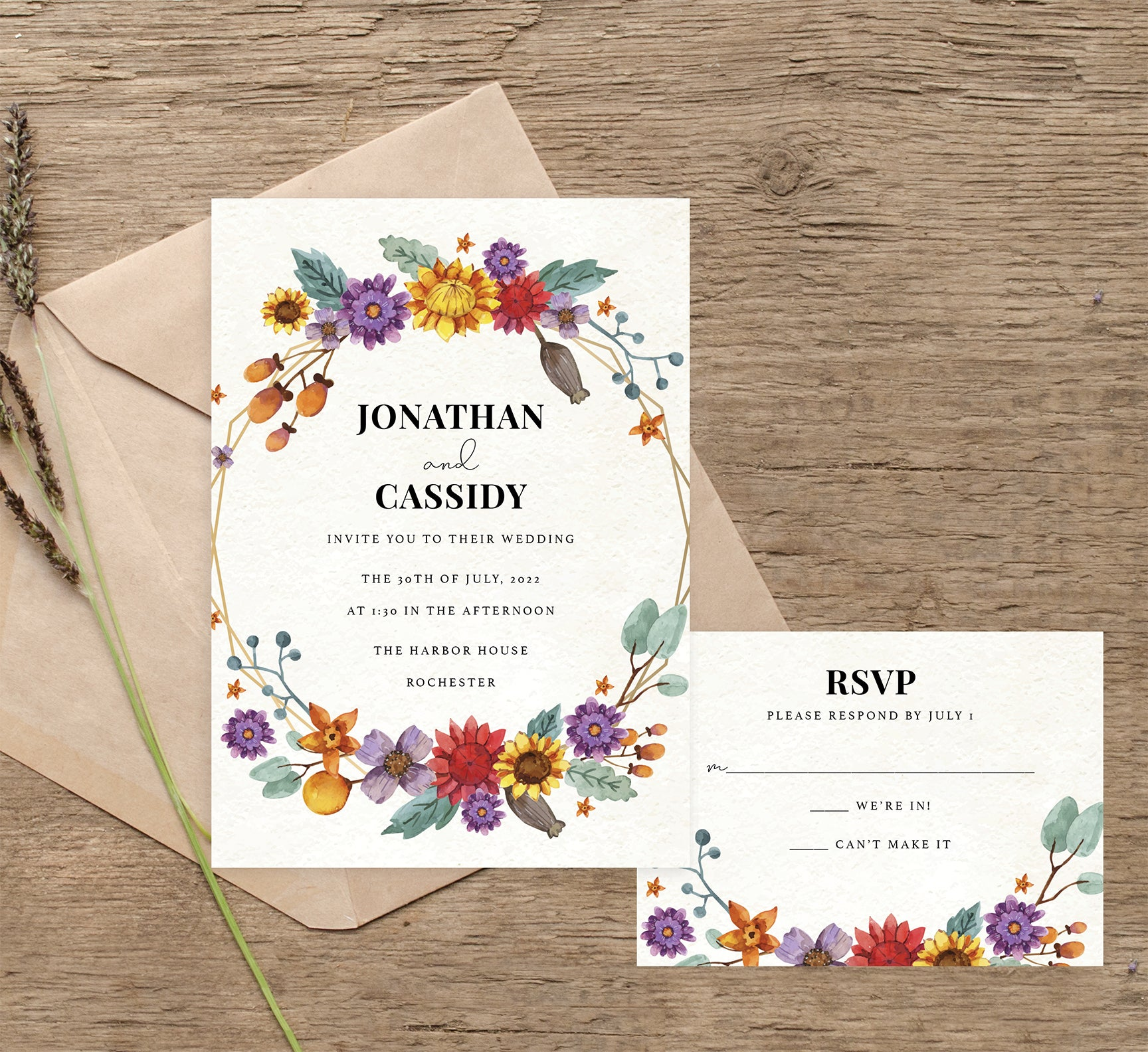 Colorful Floral Frame wedding invitation and set mockup