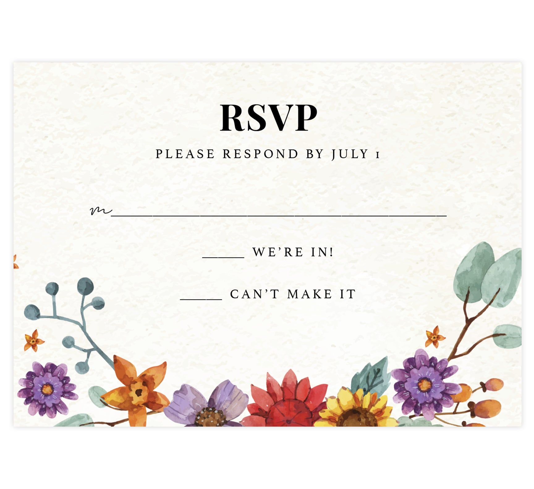 Colorful Floral Frame wedding response card; textured background with black text and colorful florals on the bottom edge