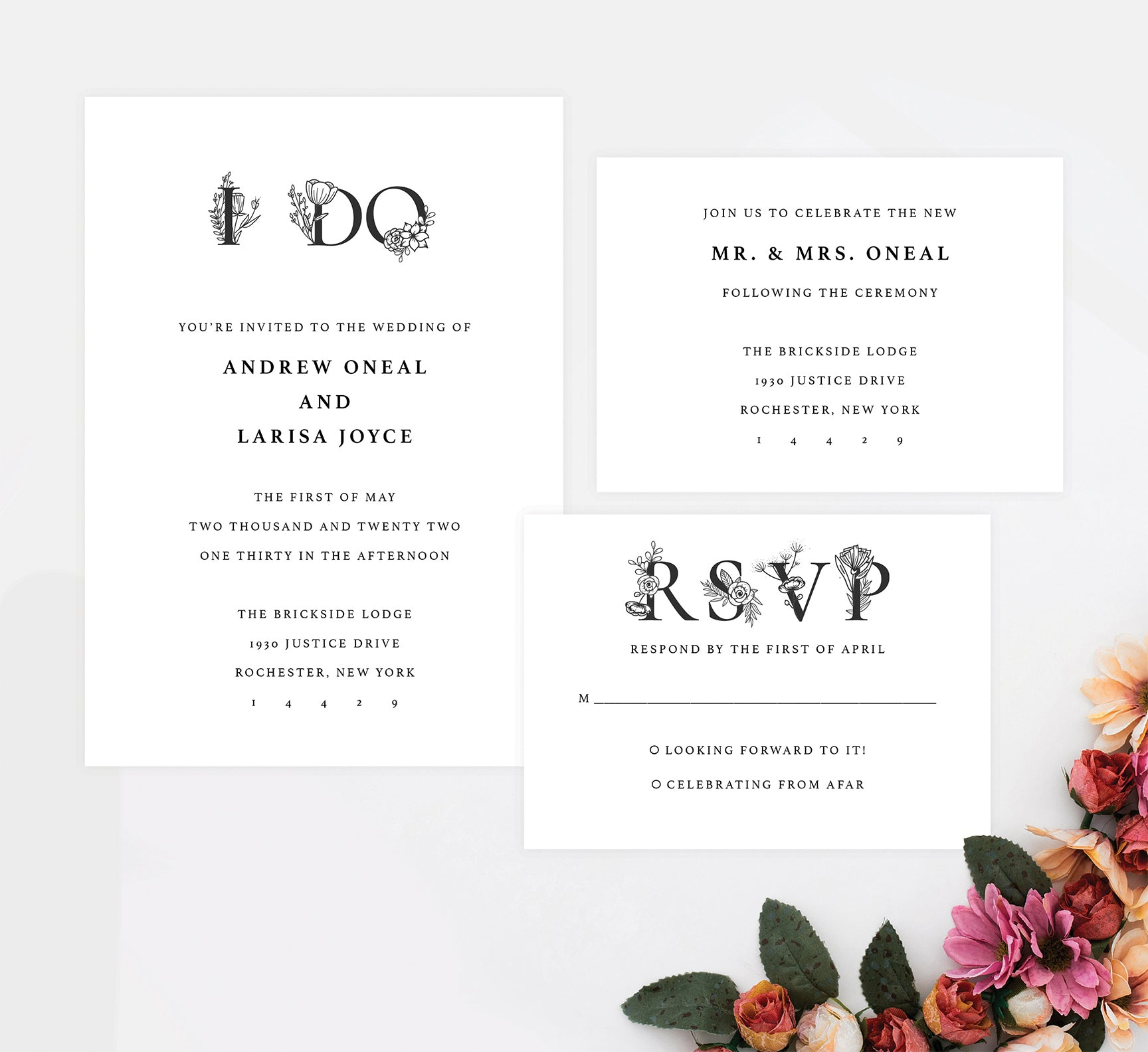 Floral Vows wedding invitation and set
