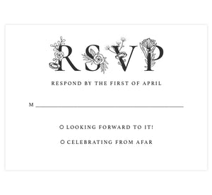 Floral Vows wedding response card; white background with black text