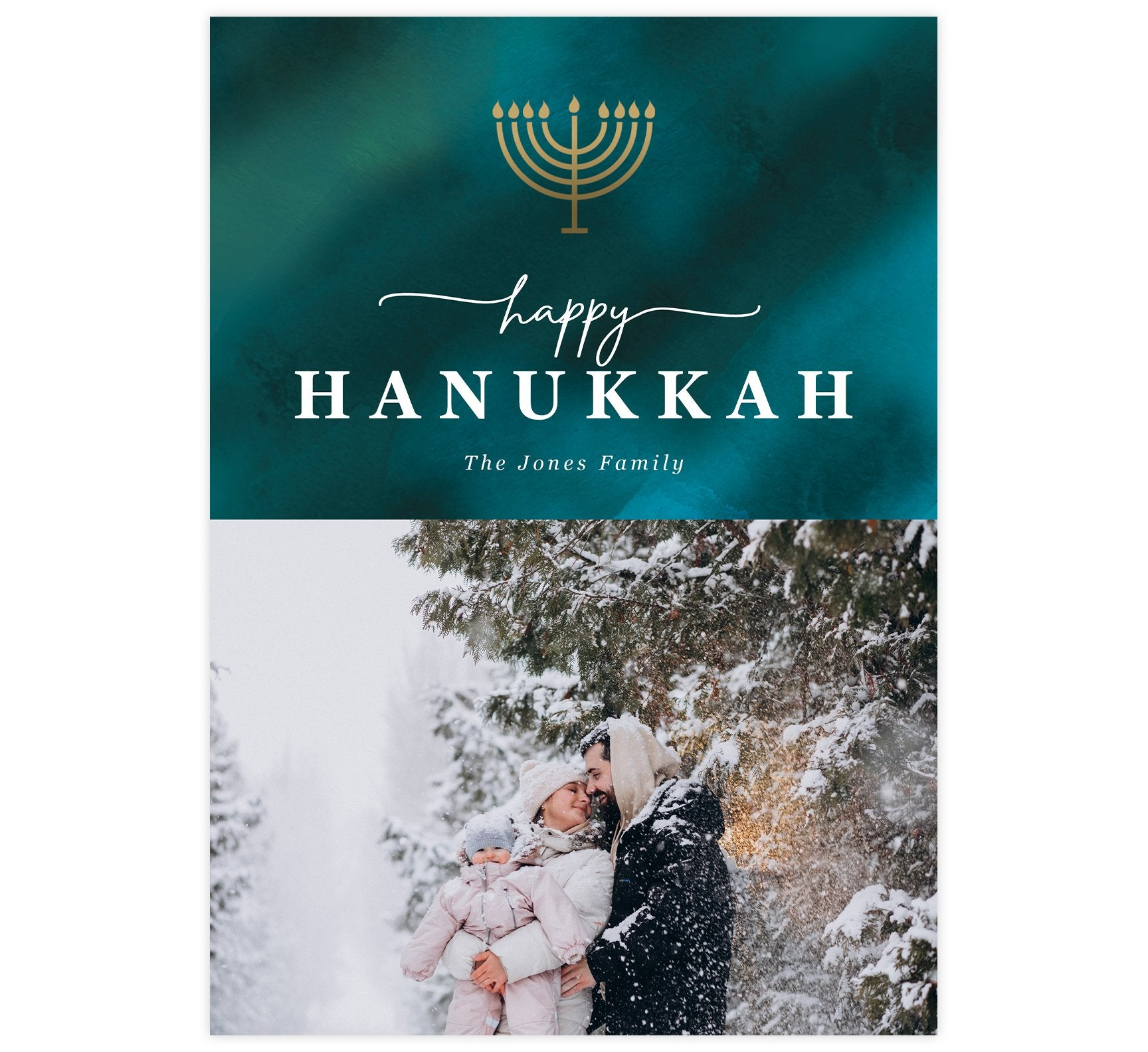 Watercolor Blues Holiday Card; Dark teal watercolor background with gold menorah at the top, white text and spot for one image.