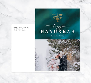 Watercolor Blues Holiday Card Mockup; Holiday card with envelope and return address printed on it.