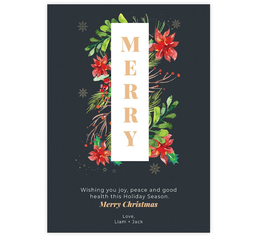 Watercolor Christmas Holiday Card; Dark background with watercolor greenery around the word Merry.