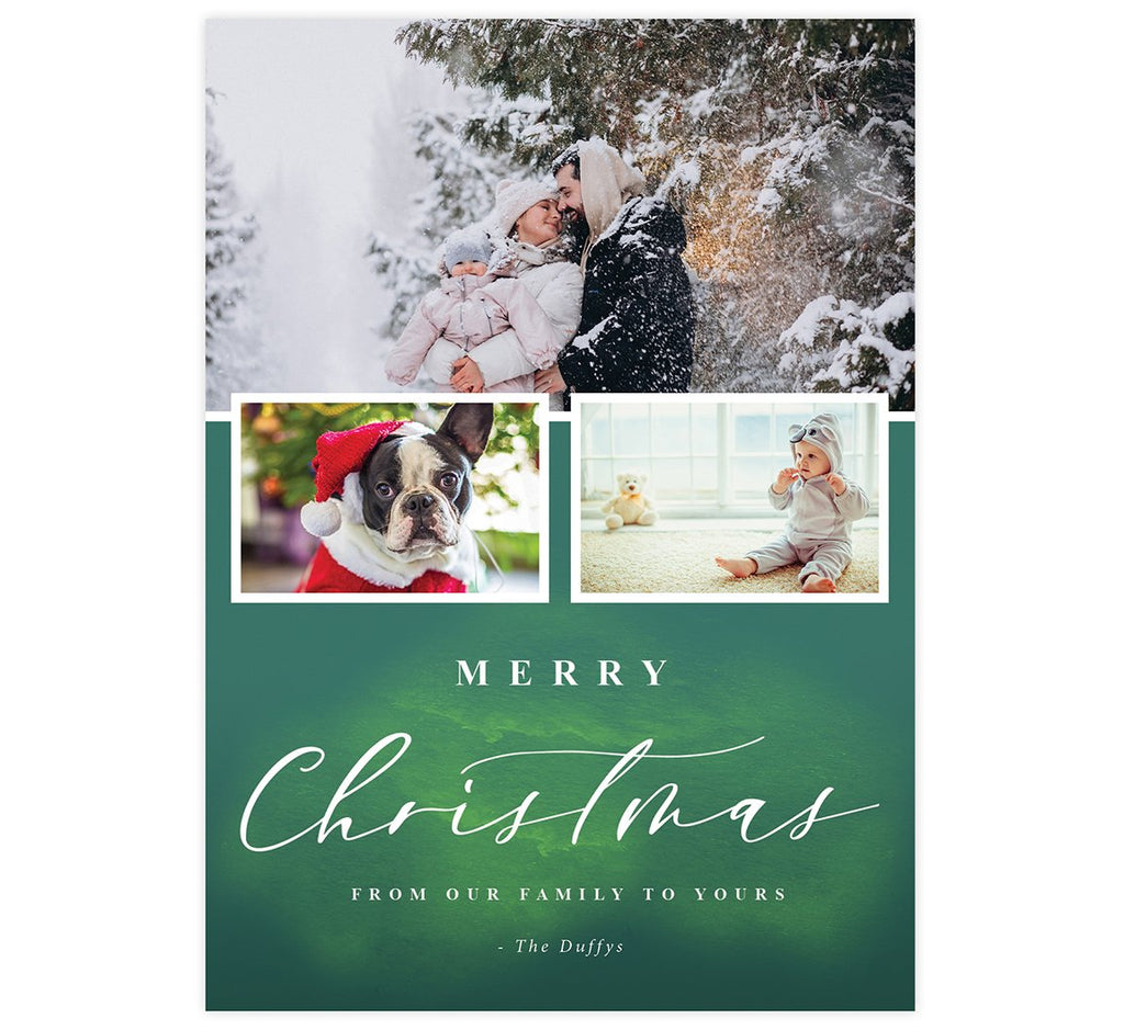 Green Watercolor Holiday Card; 3 image spots with watercolor green background and white typography