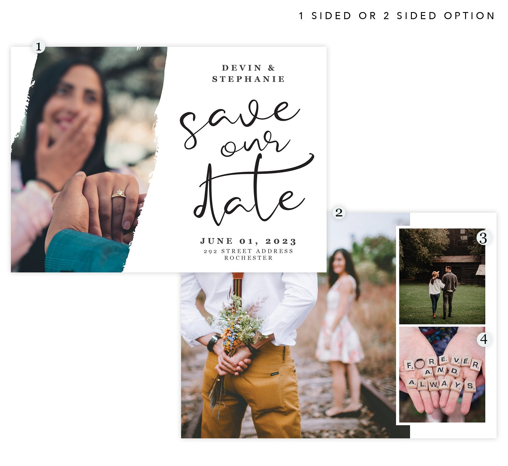 Wedding White Save the Date Card with 3 image spots