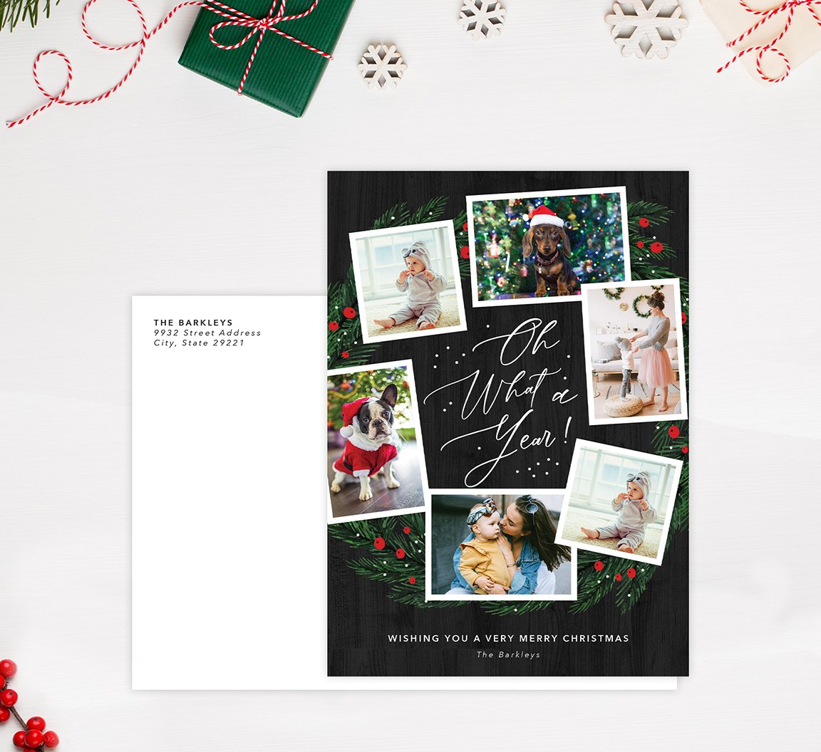 What a Year Holiday Card Mockup; Holiday card with envelope and return address printed on it.