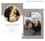 Load image into Gallery viewer, White and Bello Save the Date Card with 1 or 2 image spots