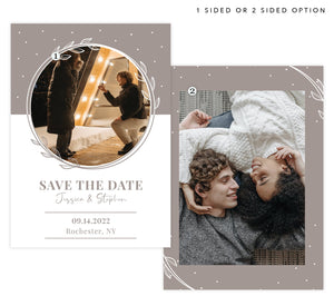 White and Bello Save the Date Card with 1 or 2 image spots