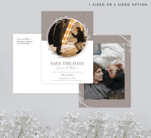 White and Bello Save the Date Card Mockup