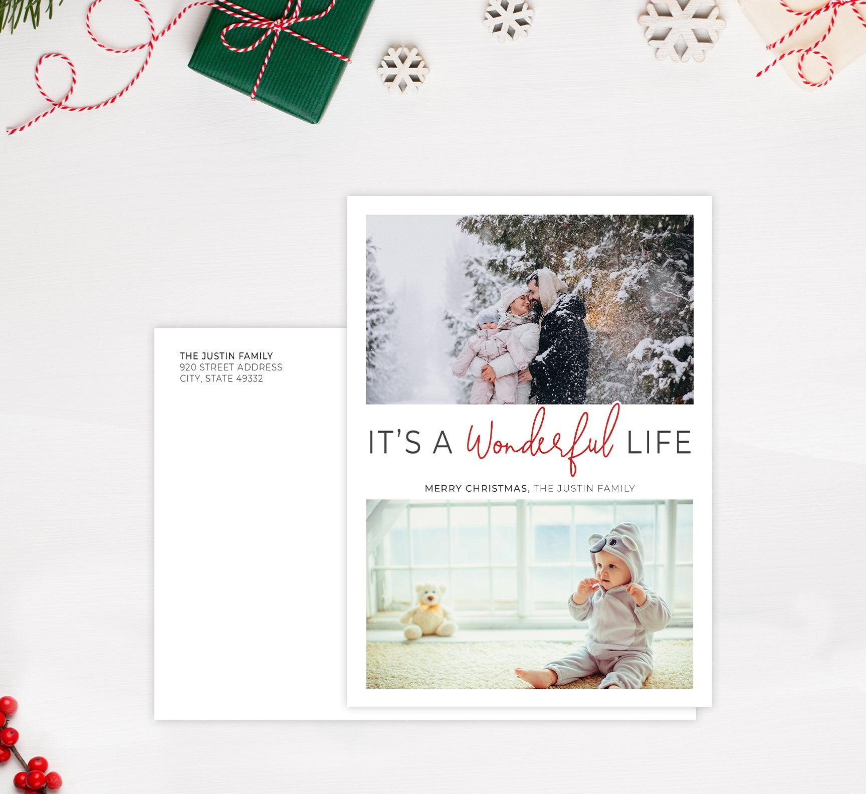 Wonderful Life Holiday Card Mockup; Holiday card with envelope and return address printed on it.
