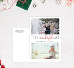 Load image into Gallery viewer, Wonderful Life Holiday Card Mockup; Holiday card with envelope and return address printed on it.