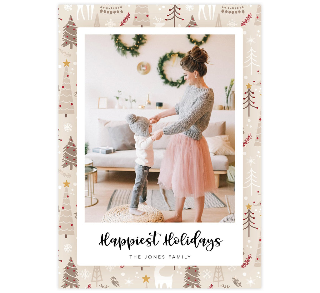 "Woodland Holiday Card; Beige, tan and red pattern background with one large image spot and ""happiest holidays"" below the image."