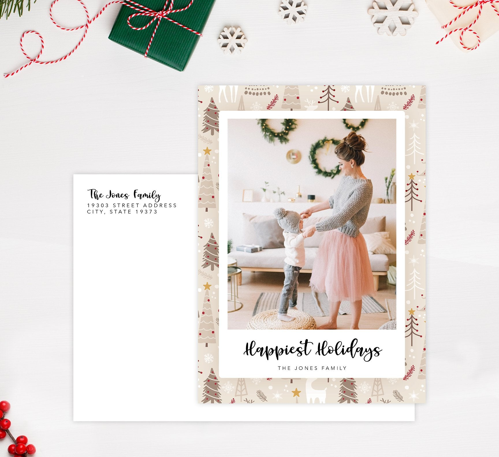 Woodland Holiday Card Mockup; Holiday card with envelope and return address printed on it.