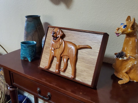 Handmade Wooden Yellow Lab Pet Urn