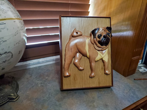 Wooden Handcrafted Pug Pet Urn