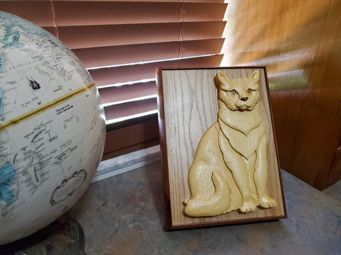Wood Carved Cat Urn for Ashes