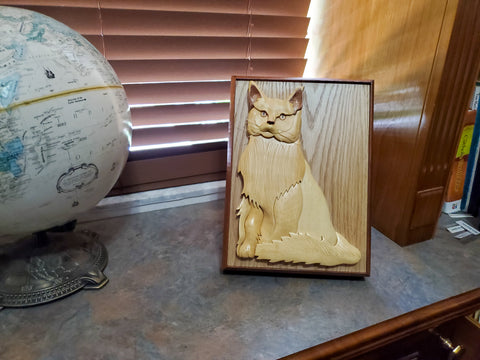 Wood Carved Longhair Light Colored Cat Urn
