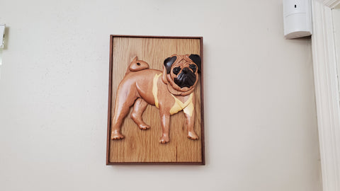 Wooden Handmade Pug Pet Urn