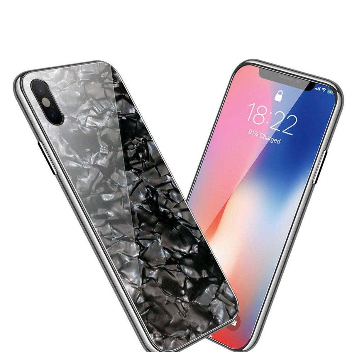 iPhone 11 Case Marble Back Bumper Cover - Black