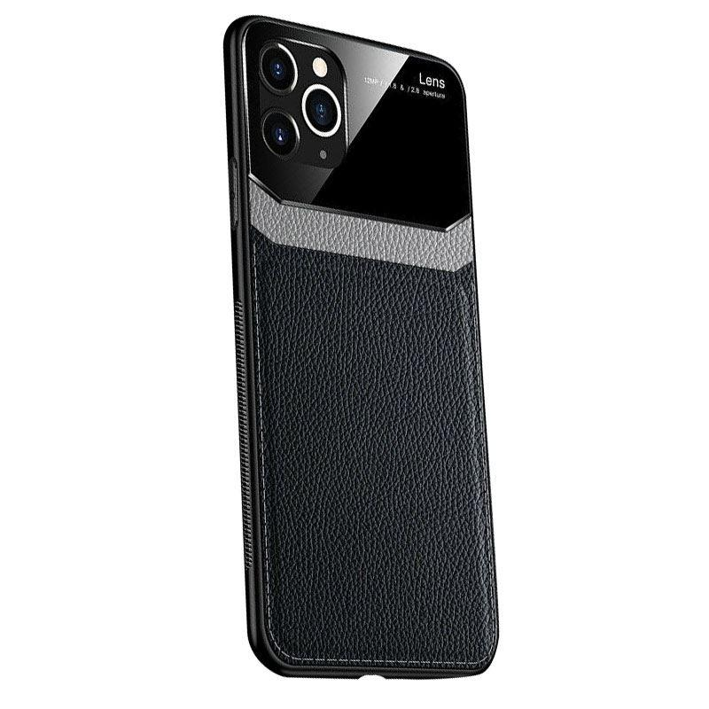 iPhone 11 Pro Max Case Leather Back - Black