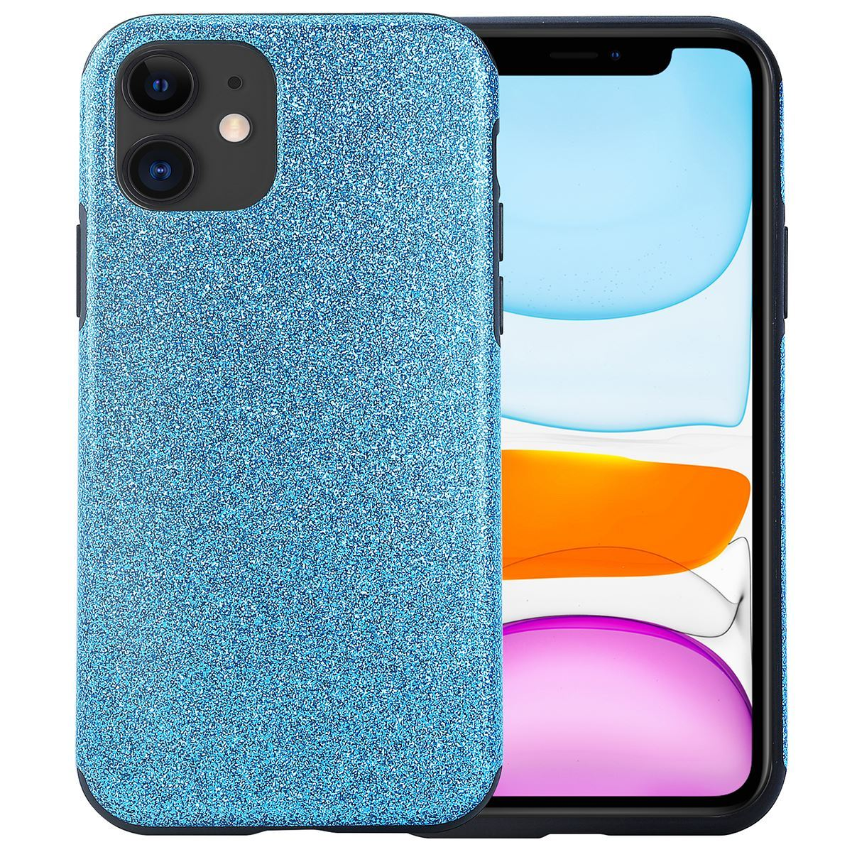 iPhone 11 Case Silicone Glitter Back Cover - Blue
