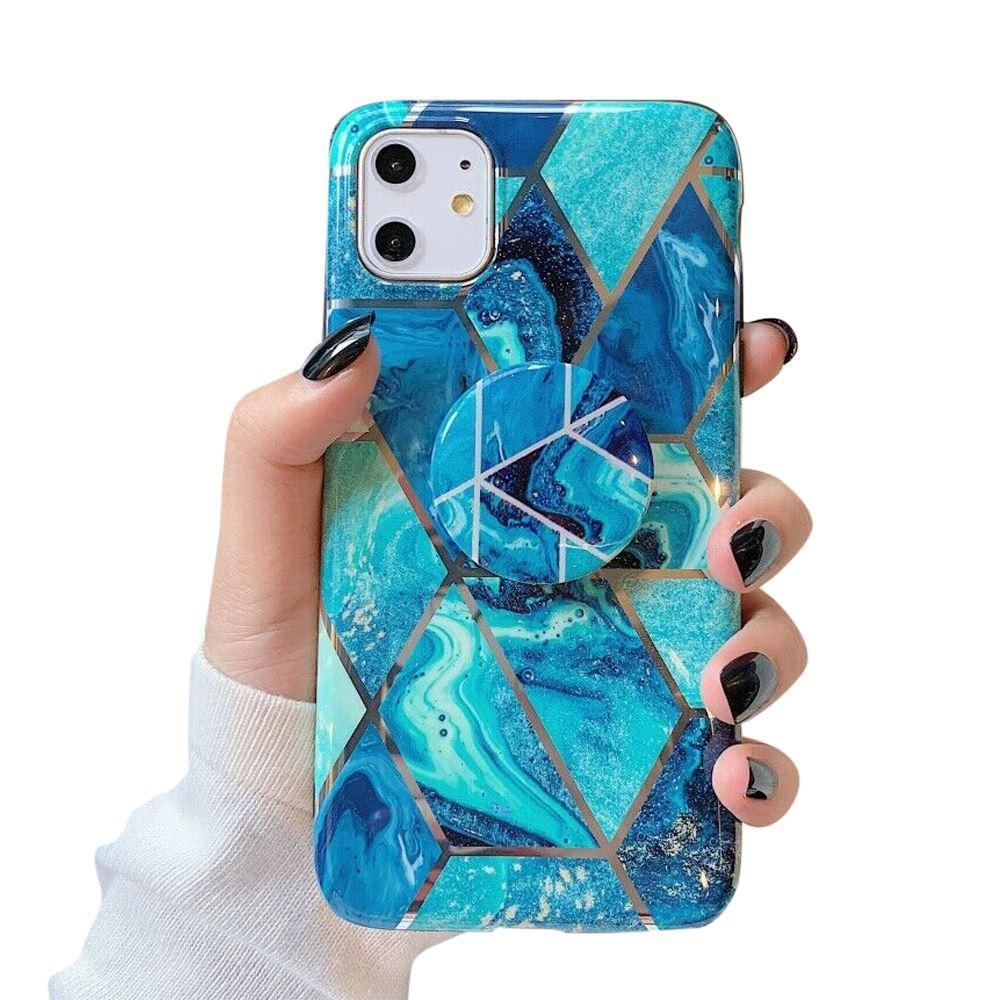 iPhone 11 Pro Case Marble Print TPU Cover - Blue