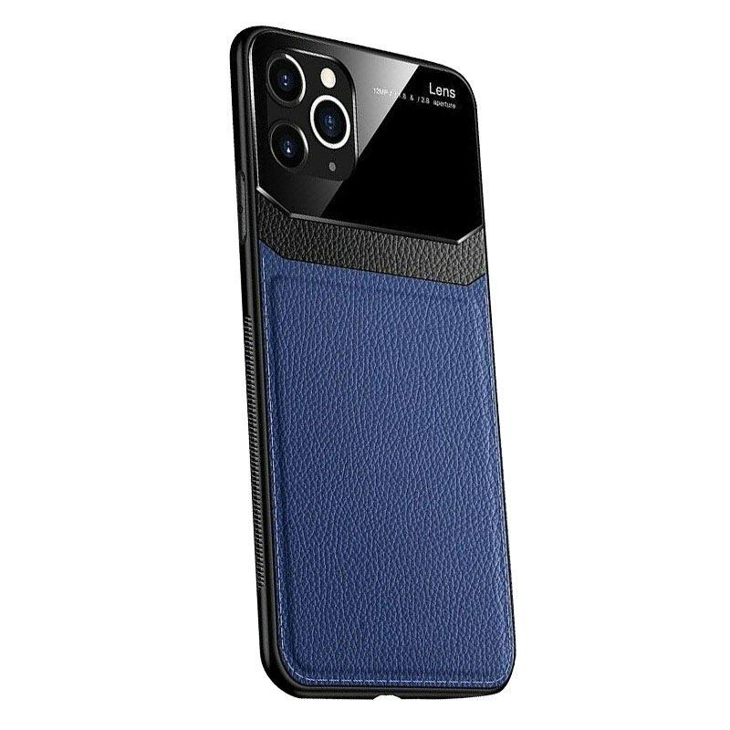 iPhone 11 Pro Max Case Leather Back - Blue