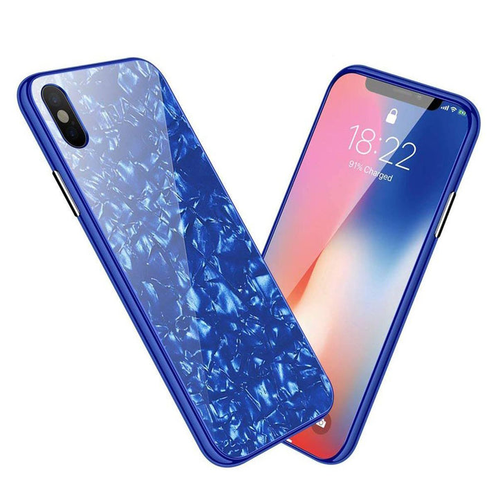FinestBazaar Back Cases Blue iPhone X Case Marble Back Bumper Cover