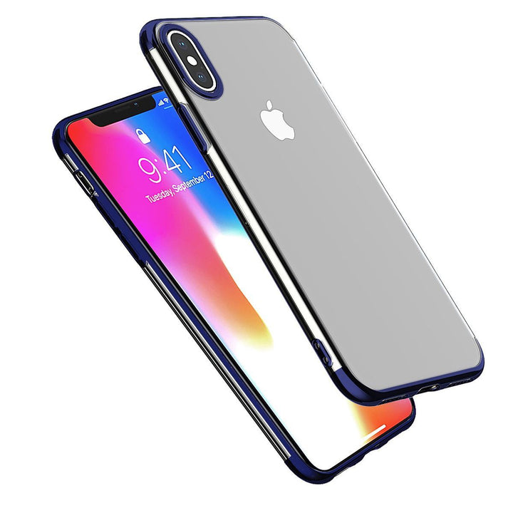 FinestBazaar Back Cases Blue iPhone X Case Silicone Gel Thin Cover