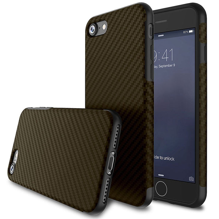 FinestBazaar Back Cases Brown iPhone X Case Carbon Fibre Silicone Cover