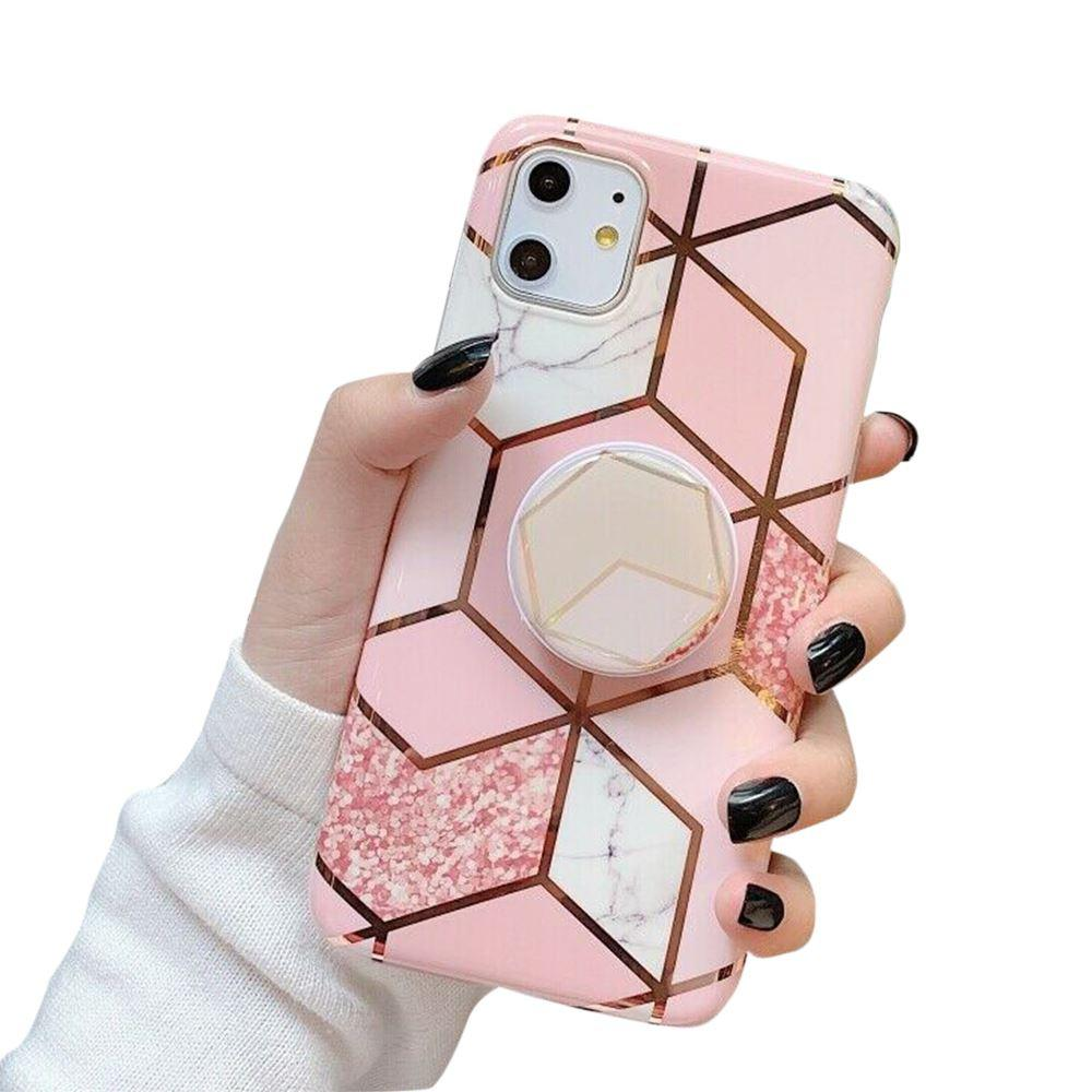 iPhone 11 Case Marble Print TPU Cover - Coral