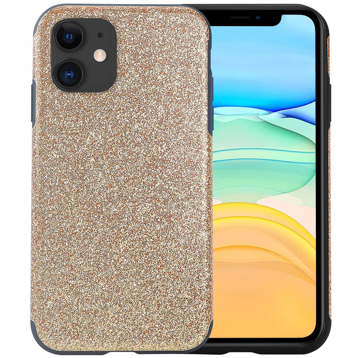 iPhone 11 Case Silicone Glitter Back Cover - Gold
