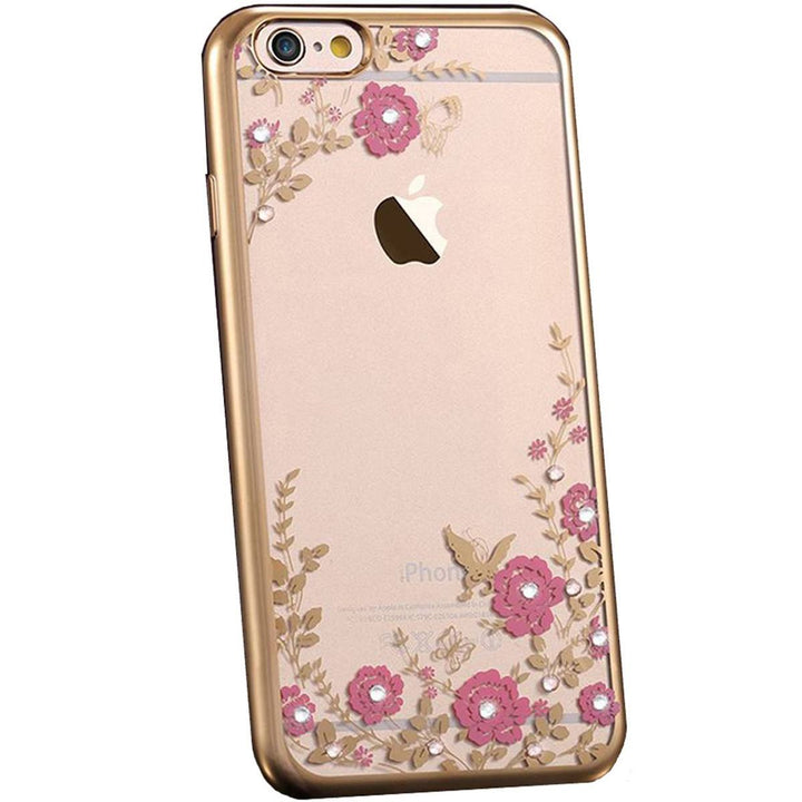 FinestBazaar Back Cases Gold iPhone 5 Case Silicone Gel Flower Cover