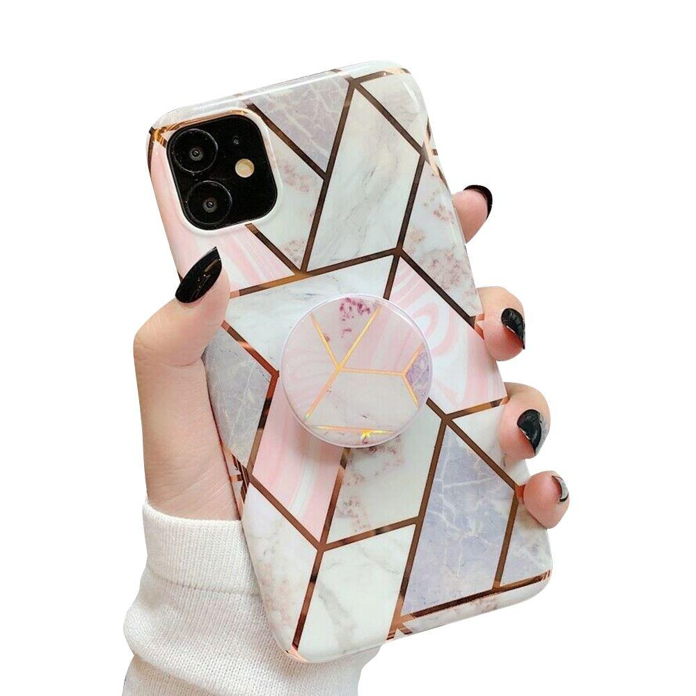 iPhone 11 Case Marble Print TPU Cover - Pink