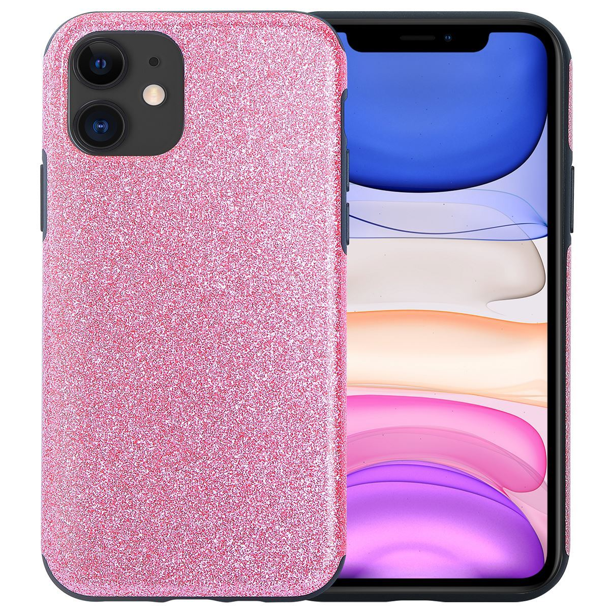 iPhone 11 Case Silicone Glitter Back Cover - Pink
