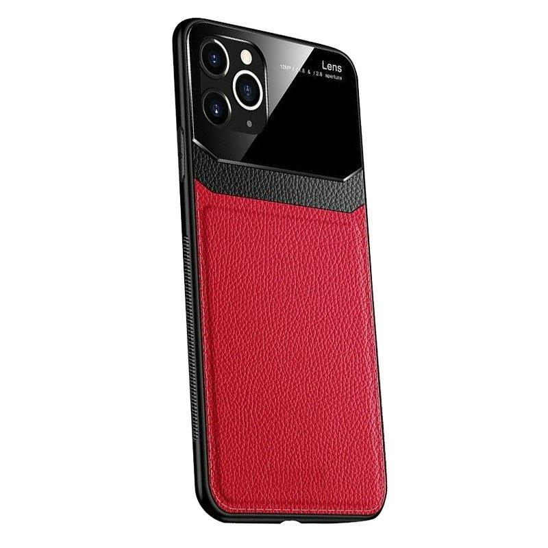iPhone 11 Pro Max Case Leather Back - Red