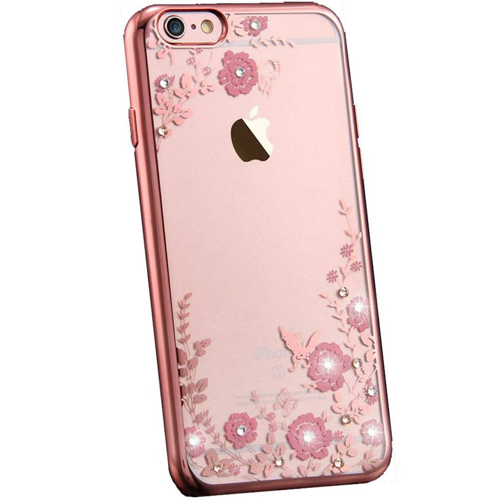 FinestBazaar Back Cases Rose Gold iPhone 7 Case Silicone Gel Flower Cover