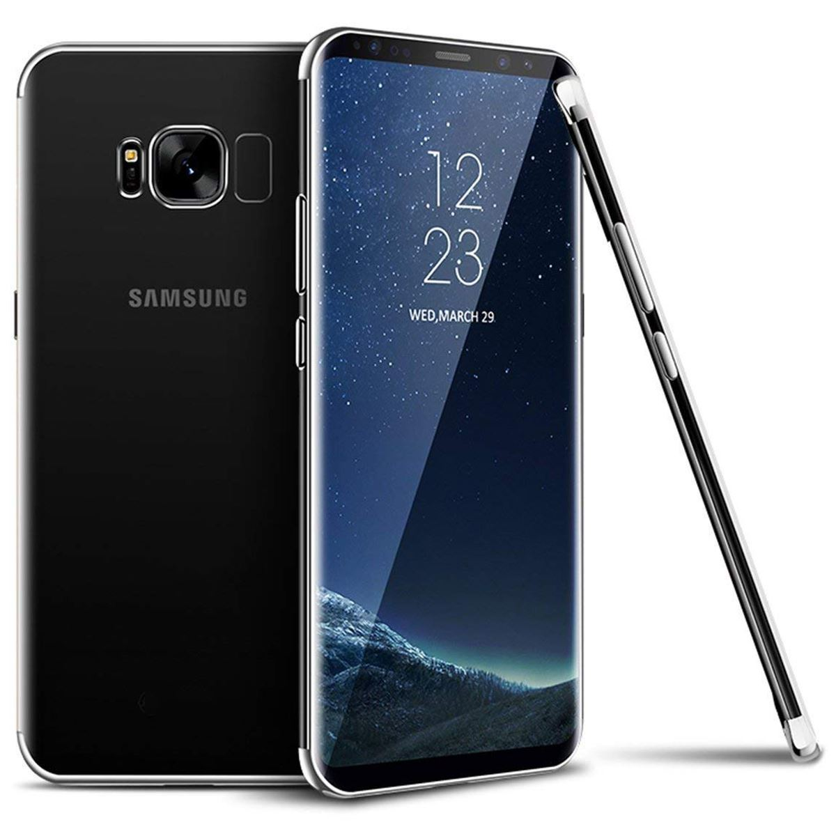 Samsung Galaxy Note 8 Case Silicone Gel Clear Cover - Silver