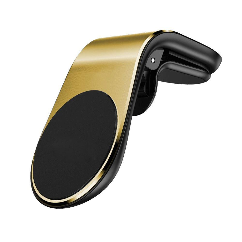 Magnetic Car Phone Holder - L Shape Compatible With All Smart Phones - Gold
