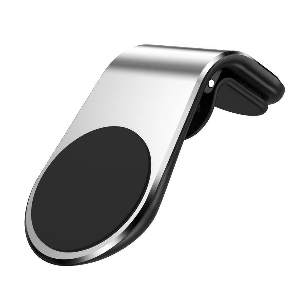 Magnetic Car Phone Holder - L Shape Compatible With All Smart Phones - Silver