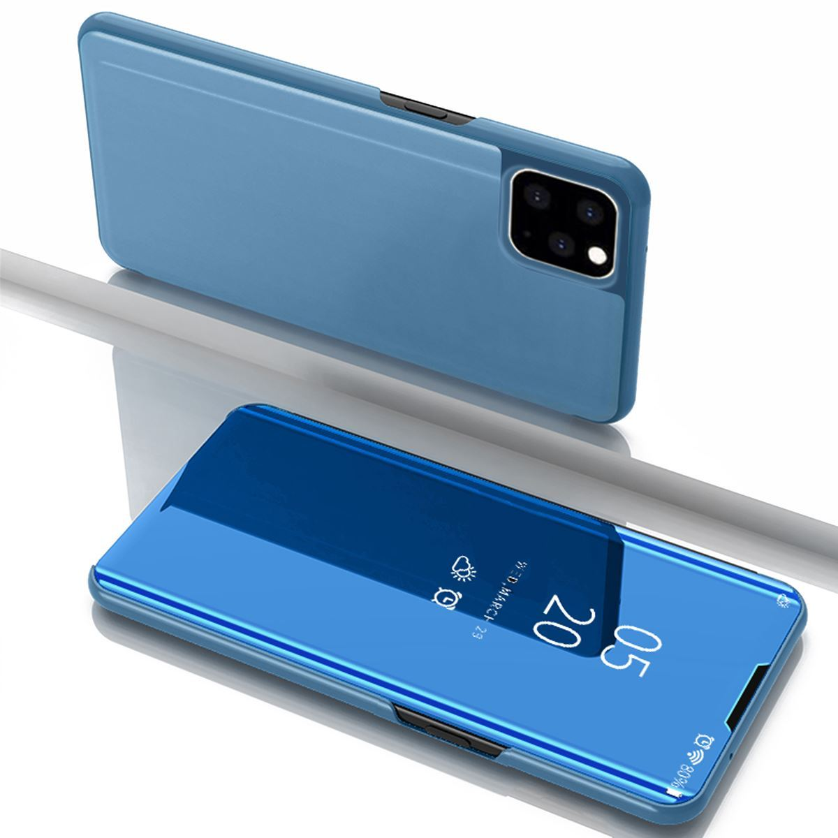 iPhone 11 Case Flip Stand Mirror Cover - Blue