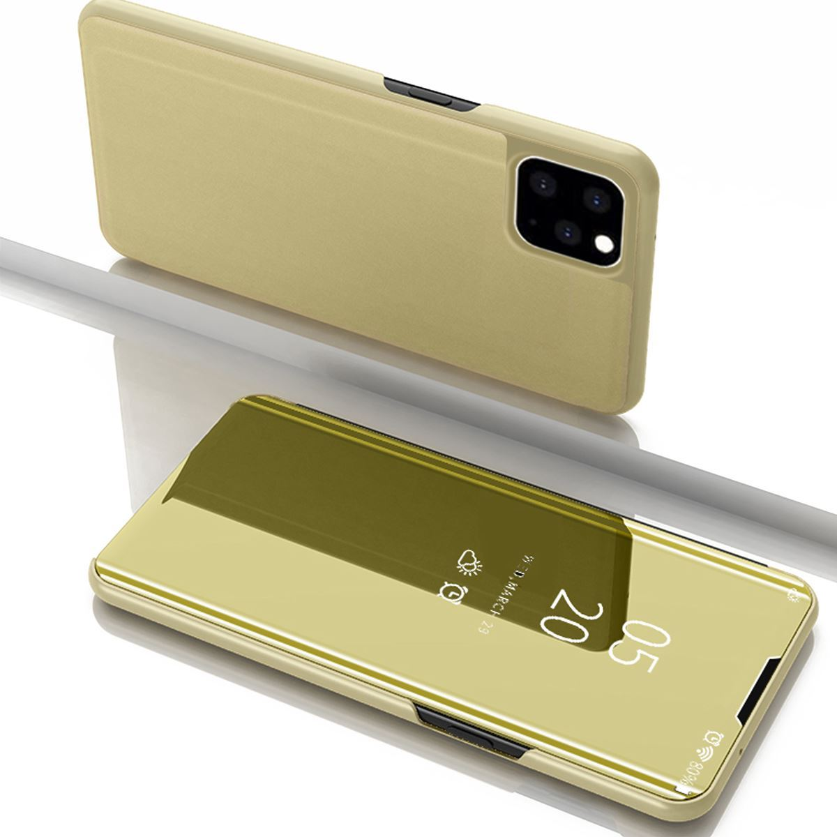 iPhone 11 Case Flip Stand Mirror Cover - Gold